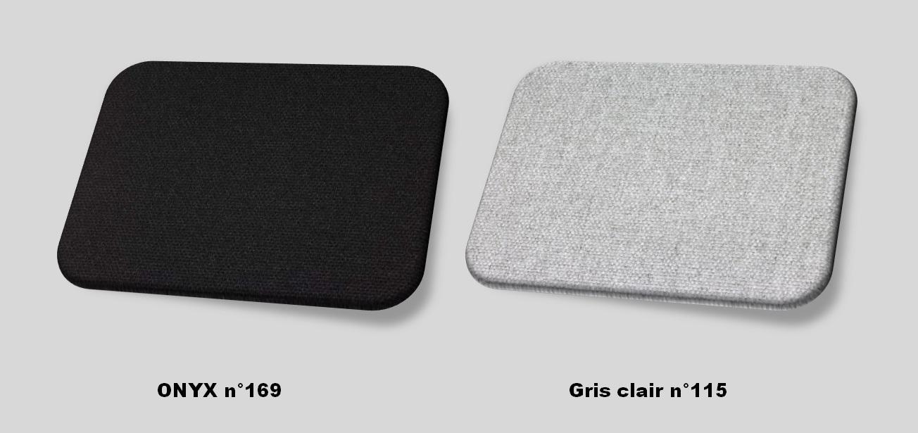 Couleurs tissu onyx (noir) - gris clair
