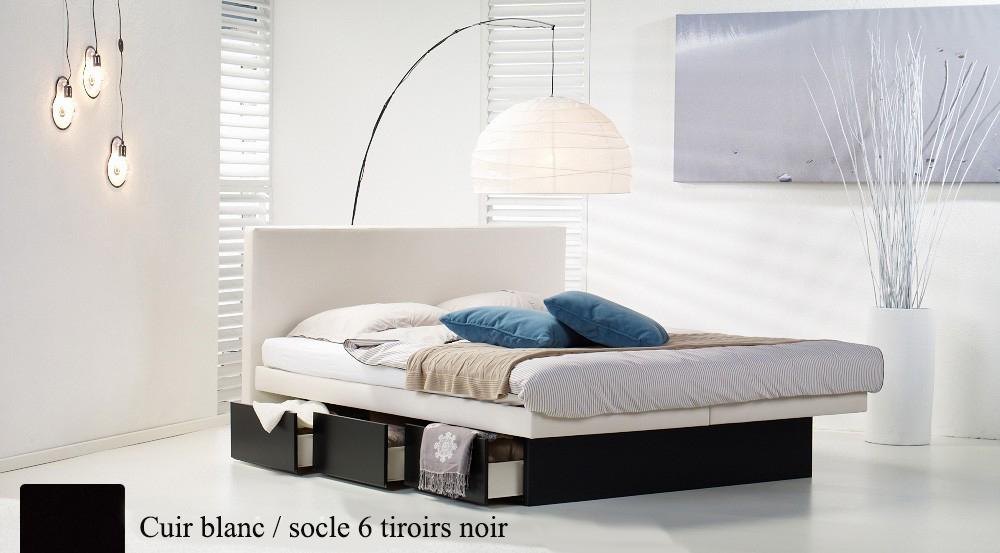 Lit a eau Waterbed France Custom Split avec tiroirs rangement