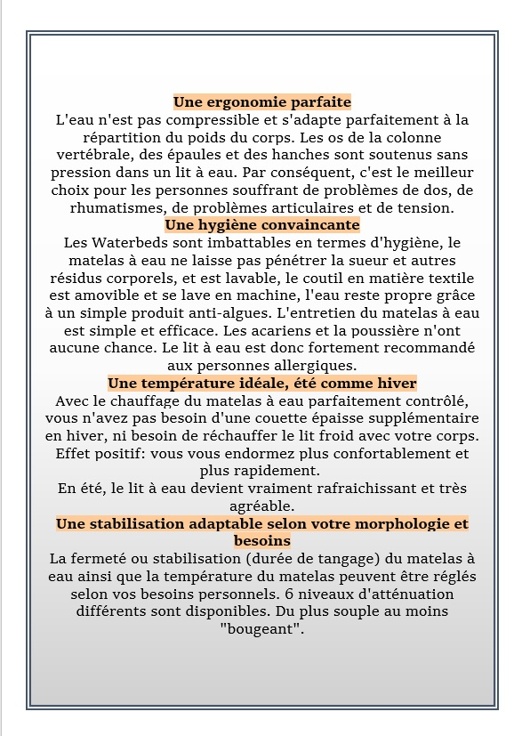 LE CONFORT ABSOLU ET L'HYGIÈNE PARFAITE DU LIT A EAU