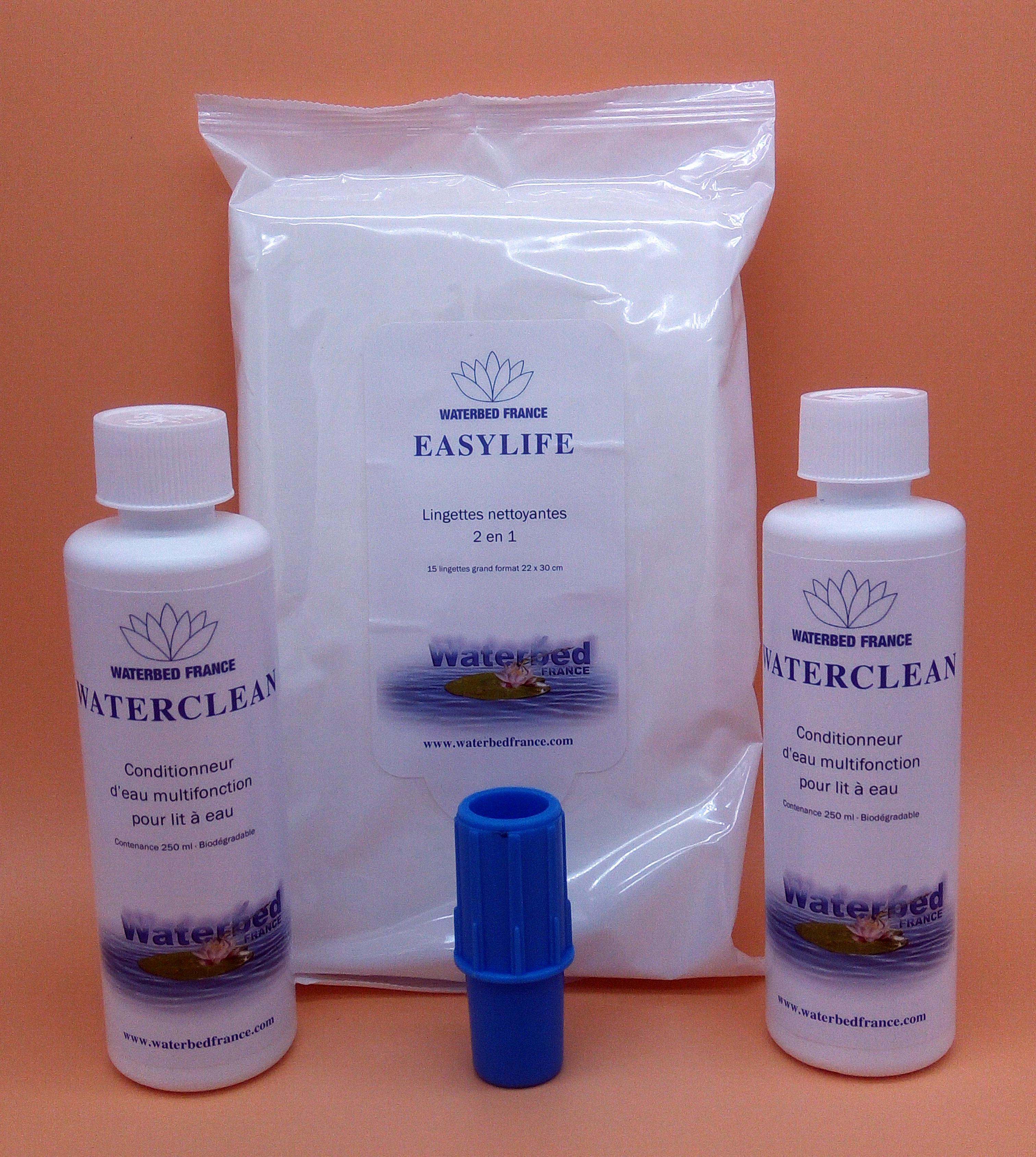 Pack entretien dual n°3, 2 flacons de conditionneur + 1 paquet de lingettes nettoyantes + 1 valve de purge d'air