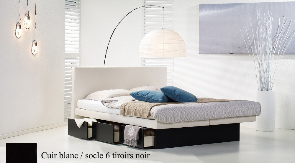 Lit a eau Custom blanc socle 6 tiroirs noir par Waterbed France