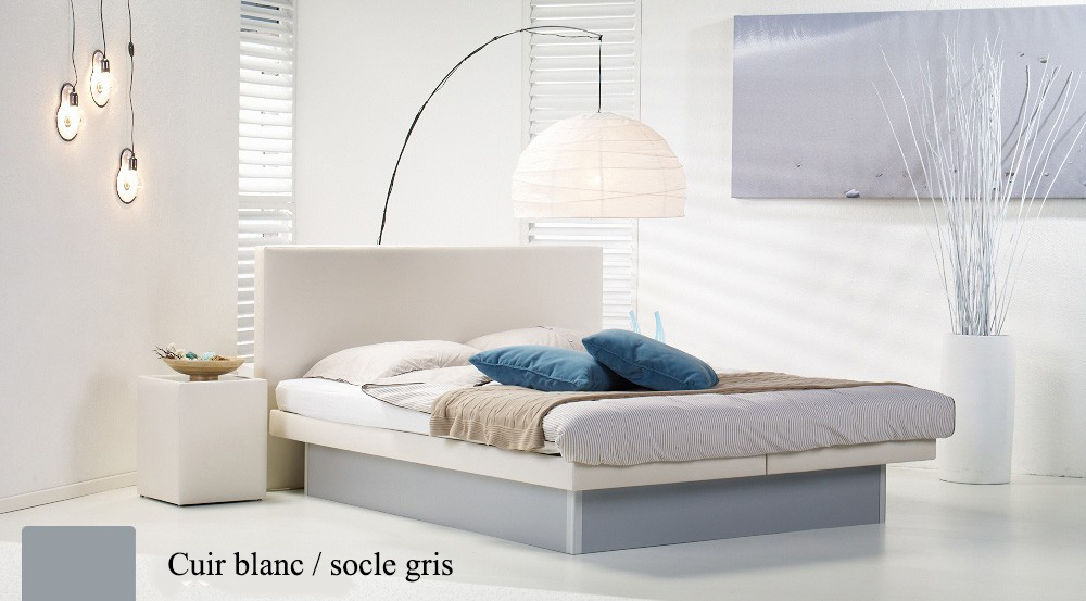 Lit a eau Custom blanc socle gris par Waterbed France
