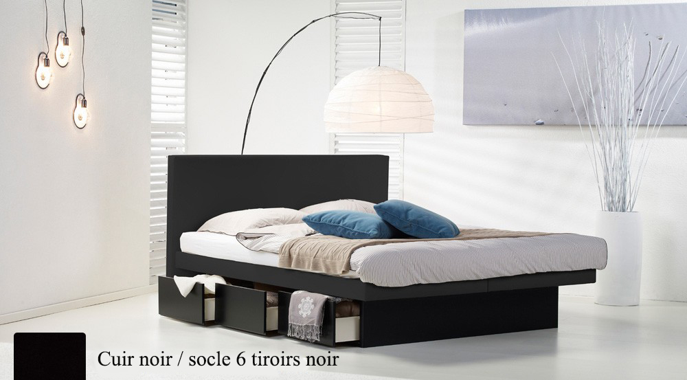 Lit a eau Custom noir socle 6 tiroirs noir par Waterbed France