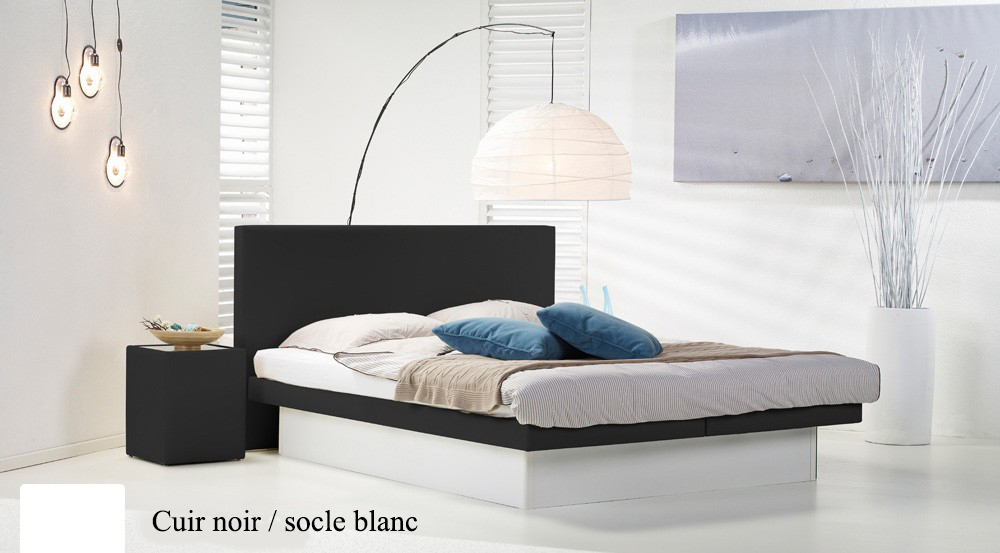 Lit a eau Custom noir socle blanc par Waterbed France