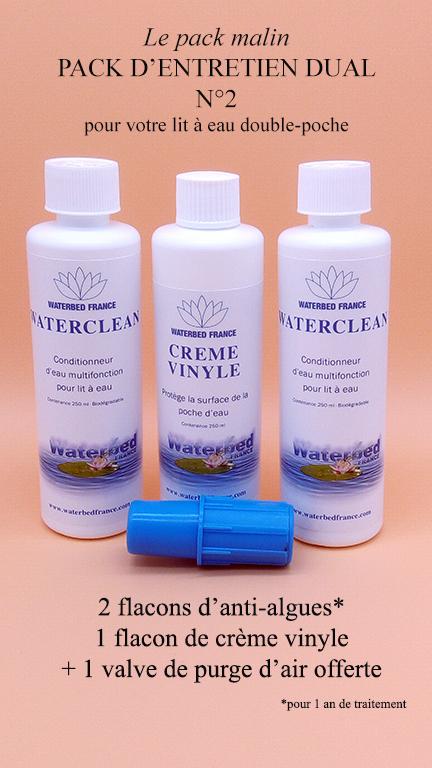 Pack entretien pour lit à eau dual n°2 Waterbed France, 2 conditionneurs + 1 crème vinyle + 1 valve de purge d'air