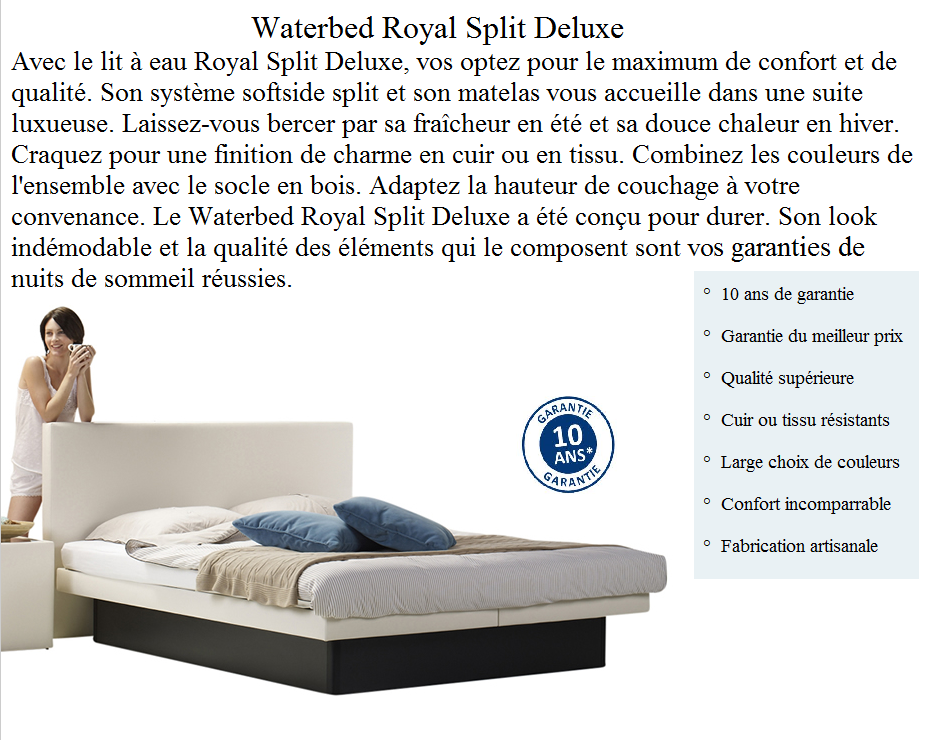 Lit à eau Royal Split Deluxe by Waterbed France